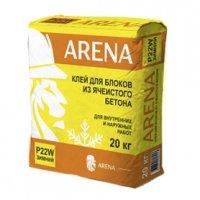ARENA P22W-20 кг — клей для блоков из ячеистого бетона для внутренних и наружных работ.