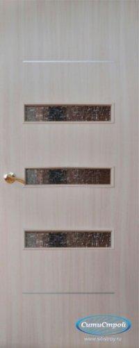 Ламинированная дверь со стеклом и молдингом ДО-301 цвет Дуб Беленый