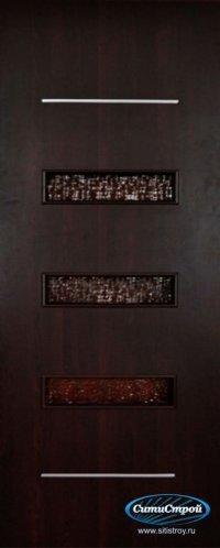 Ламинированная дверь со стеклом и молдингом ДО-301 цвет Венге