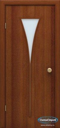 Ламинированная дверь со стеклом Факел цвет Итальянский Орех