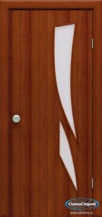 Ламинированная дверь со стеклом Лиана цвет Итальянский Орех