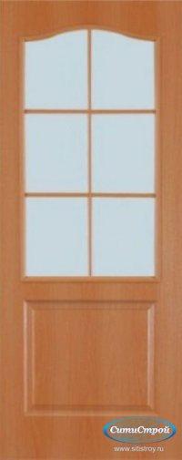 Ламинированная дверь со стеклом Палитра цвет Миланский Орех
