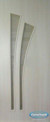 Ламинированная дверь со стеклом Салют цвет Дуб Беленый
