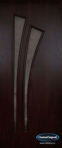 Ламинированная дверь со стеклом Салют цвет Венге